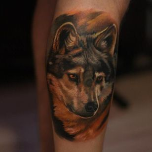 Gorgeous wolf tattoo. #GienaRevess #realistic #realism #3D #photorealism #wolf