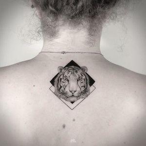 A white tiger glares out from some diamond shapes, by Mark Ostein (via IG—mark_ostein) #dotwork #animals #geometric #markostein