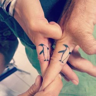 Penguin Couples Tattoo by Nicole Cooksley #matchingtattoos #couplestattoos #couple #NicoleCooksley