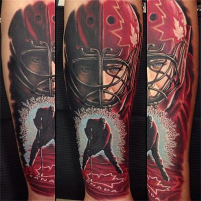 Another hockey themed Canadian pride tattoo #canda #canadaday #canadatattoo #canadianpridetattoo #hockey