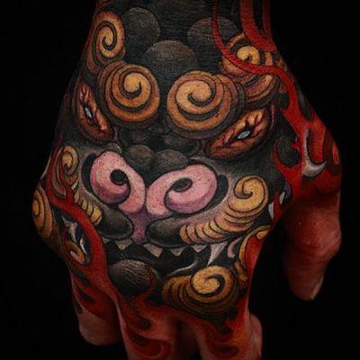 Foo Dog Tattoo by Yushi #foodog #japanese #asian #oriental #korean #koreanartist #Yushi