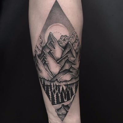 Climb every mountain by Heidi Furey #HeidiFurey #blackandgrey #linework #dotwork #landscape #sky #mountains #clouds #forest #forest #cabin #lake #nature #tattoooftheday