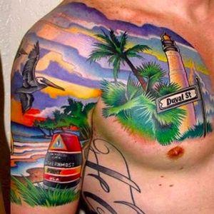 Now that's a beach bod. By Hoffa Artfink (via IG -- ascension_tattoo) #hoffaartfink #beach #beachtattoo
