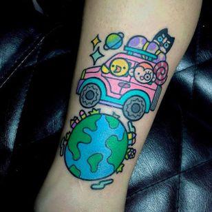 Kawaii earth tattoo by @pikkapimingchen #earth #earthtattoo #climatechange #planetearth