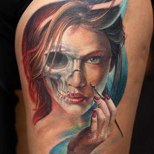 Photo-Realistic Portrait Tattoo By Iwan Yug #portraittattoo #IwanYug #photorealistictattoos #realistictattoos #3Dtattoos
