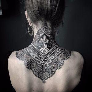 Victorian Lace by Ellemental Tattoos #ellemental #ellementaltattoos #blackwork #dotwork #linework #ornamental #lace #pattern #geometric #floral #flowers #artdeco #victorian #tattoooftheday