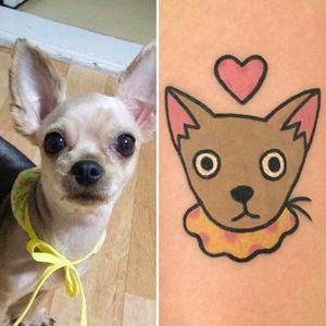 Chihuahua Tattoo by Jiran @Jiran_Tattoo #JiranTattoo #Chihuahua #Pet #PetTattoo #Neotraditional #Seoul #Korea