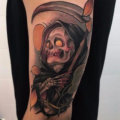 Feito por Oash Rodriguez #OashRodriguez #ceifador #ceifeirotattoo #reapertatto #reaper #grimreaper #morte #death #skull #caveira #folha #leaf #espinho #thorn