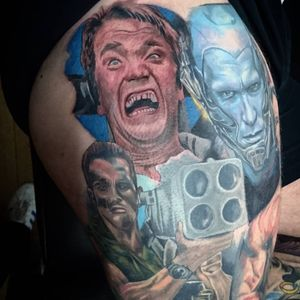 Portraits of Arnold Schwarzenegger from a number of roles by Chris Smith (IG—chrissmithtattoos). #ArnoldSchwarzenegger #ChrisSmith #color #Commando #MrFreeze #realism #TotalRecall