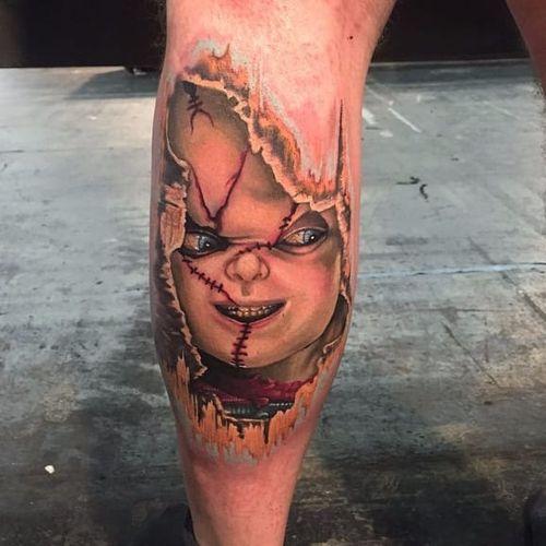 Chucky. #Halloween #HalloweenTattoo #Chucky #ChuckyTattoo