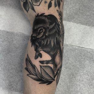 Buffalo Tattoo by Kyle Stacher #Buffalo #BuffaloTattoo #Bison #AmericanTraditional #Traditional #KyleStacher