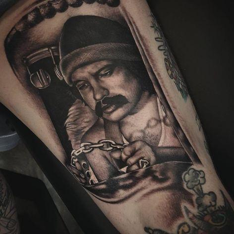 A badass portrait of Cheech driving a tricked out van by Chris Huff (IG—tattoosbychrishuff). #blackandgrey #CheechandChong #ChrisHuff #portraiture #realism
