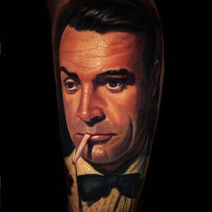 Bond. James Bond. Tattoo by Schene. Jamie Schene. (Via IG - jamie_schene) #JamieSchene #colorrealism #jamesbond