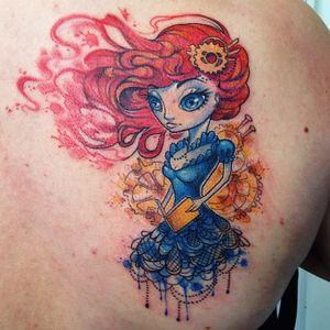 Redhead steampunk girl by Liisa Addi #redhead #girltattoo #girl #steampunk #steampunktattoo #watercolor #LiisaAddi #watercolorgirl