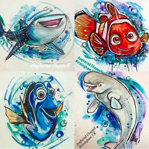 Finding Dory tattoo design by Angharad Chappell #AngharadChappell #Disney #Pixar #FindingDory