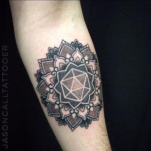 Geometric Tattoo by Jason Call #Geometric #Geometry #BlackGeometry #mandala #mandalatattoo #Dotwork #JasonCall