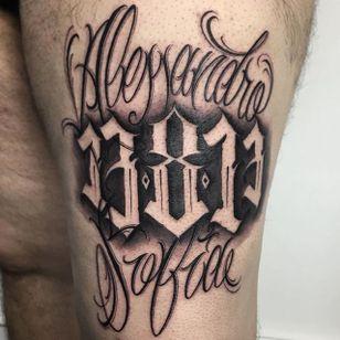 'Alessandro' Lettering Tattoo by Gabri #lettering #lettering #script #blacklattering #blackwork #blckwrk #GabriL