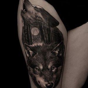 Wolf pack. (via IG - andreytattoo) #AndreySmolentcev #BlackandGrey #AnimalHeads #Realism #wolf #Wolves
