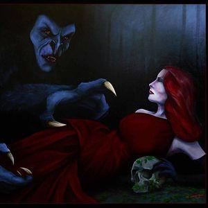 A tribute to Dracula. Painting by Martin Darkside. #MartinDarkside #prettypieceofflesh #darkart #tattoedartist #UKpainter #pinupgirls #horror #oilpainting #bradford