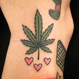 Love and Pot Leaf Tattoo by Jiran @Jiran_Tattoo #Potleaf #Potleaftattoo #Weedtattoo #Weed #Cutetattoo #Neotraditional #JiranTattoo #Korea