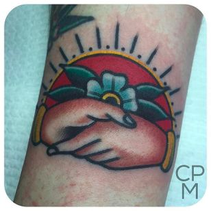 Clean and bold handshake tattoo done by CP Martin. #CPMartin #thedarlingparlour #sydney #traditionaltattoos #handshake