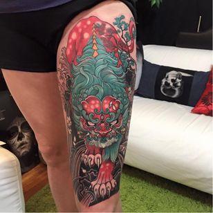 Fu dog tattoo by Elvin Yong #ElvinYong #asian #contemporary #newschool #fudog
