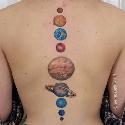 Spine Solar System by Memo Espino #MemoEspino #color #watercolor #planets #Earth #jupiter #saturn #Venus #realism #realistic #galaxy #lunar #solarsystem #tattoooftheday