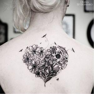 Flower heart #DianaSeverinenko #floral #flower #blackwork #heart #nature