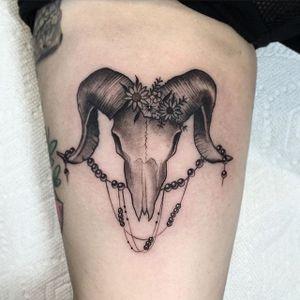 Animal Skull Tattoo by Cally Jo @callyjoart #callyjo #callyjoart #blackandgrey #animalskull