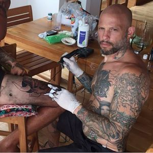 Tattooing a good friend of mine down in Costa Rica while I was recently there #hannya #japanese #costarica #tattoodo #amijames