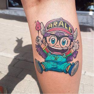 Arale Norimaki tattoo by Nerea Flores. #anime #NereaFlores #dragonballz #arale #aralenorimaki #kawaii #cute #littlegirl #drslump