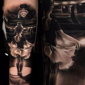 Tiny dancer by Martin Kukol #MartinKukol #tinydancer #balletdancer #ballet #tutu #theatre #realism #realistic #hyperrealism #portrait #blackandgrey #blackwork #tattoooftheday