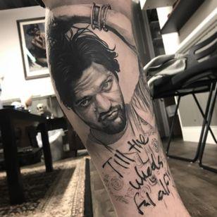 Jackass Bam Margera tattoo by Duncan Whitfield #DuncanWhitfield #blackandgreytattoo #realistictattoo #realismtattoo #hyperrealistictattoo #portraittattoo #bammargeratattoo #jackasstattoo #tvtattoo #tattoooftheday