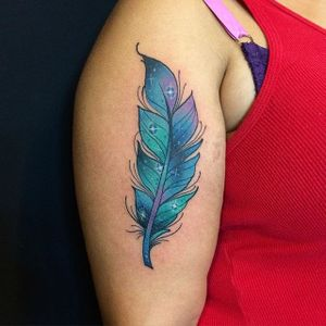 Feather Tattoo by Blayne Bius #feather #contemporary #bold #colorful #BlayneBius