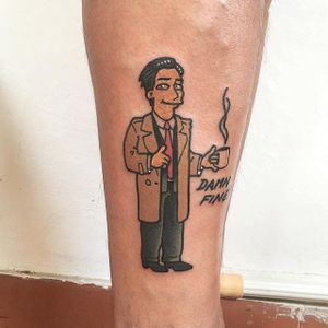 Twin Peaks x The Simpsons tattoo by Vinz Flag. #VinzFlag #popculture #cartoon #bold #color #thesimpsons #simpsons #twinpeaks