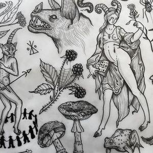 DeWinter's Flash Art by Rebecca DeWinter (via IG-rebeccadewinterttt) #illustrative #black #nature #plants #toad #bat #goat #witchcraftl #woman #witch #rebeccadewinter