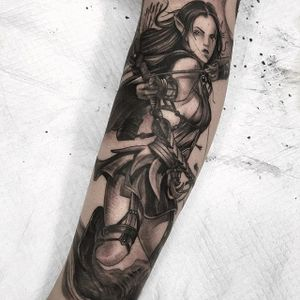 Black and grey archer tattoo by Fibs. #Fibs #JuvelVasquez #blackandgrey #japanese #neotraditional #archer #anime #woman #videogame