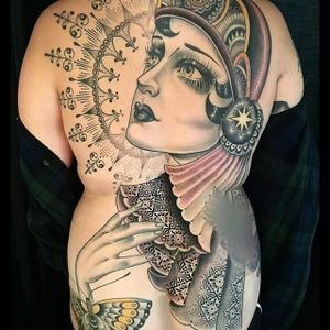 Back Piece in Progress by Rose Hardy (via IG-rosehardy) #ladyhead #traditional #neotraditional #detailed #color #rosehardy