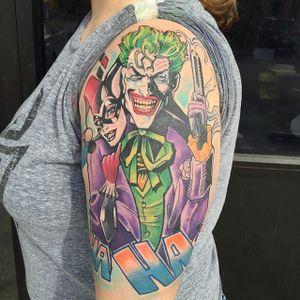 Joker and Harley Quinn Tattoo by Iron Rose Tattoo #Joker #HarleyQuinn #JokerandHarley #JokerTattoo #HarleyQuinnTattoo #Batman #ComicCouples #ComicTattoo #DC #IronRoseTattoo