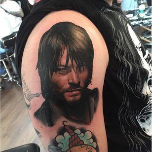Neotraditional portrait tattoo by Dan Molloy. #DanMolloy #neotraditional #TheWalkingDead #darryldixon #actor #portrait