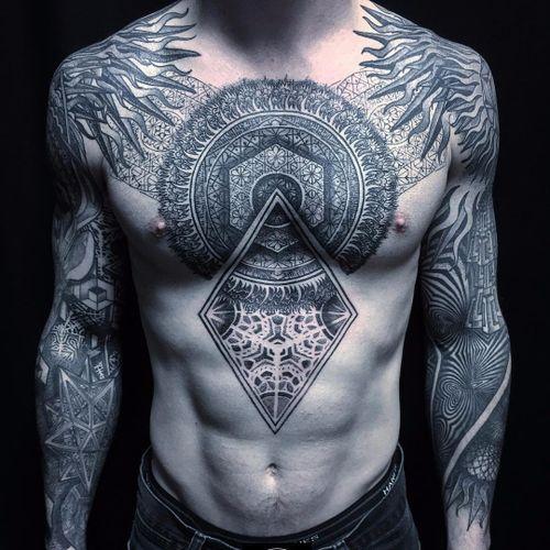 Patterns by Rob Hoskins #RobHoskins #blackandgrey #linework #dotwork #chestpiece #sleeves #pattern #geometric #sacredgeometry #shapes #mandala #fire #sun #opticalillusion #tattoooftheday