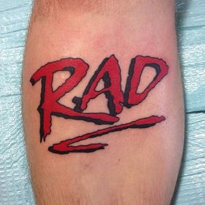 Needham also directed the BMX movie RAD, whose logo is seen here in a piece by Nick Sarich (via IG -- nick_sarich_tattooer) #nicksarich #rad #halneedham