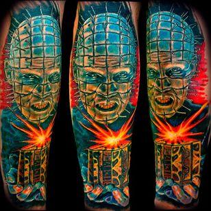 Vividly bright colored tattoo from Kirt Silver #hellraiser #CliveBarker #cenobite #horror #movie #pinhead #colorwork #KirtSilver