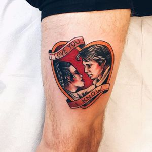 Han Solo and Leia Tattoo, unknown artist #hansolo #princessleia #hansoloandleia #leia #starwars #couples #couple