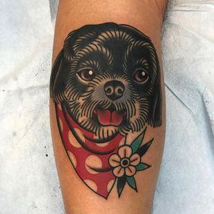 Bandana Boy by Phil DeAngulo (via IG-midwestphil) #dog #bandana #flower #animal #color #traditional #bold #PhilDeAngulo