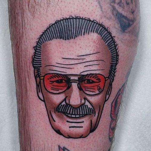 Stan Lee Tattoo by Bartek Kos #stanlee #stanleetattoo #stanleetattoos #marvel #marveltattoo #marveltattoos #comictattoo #marvelcomics #traditional ##BartekKos