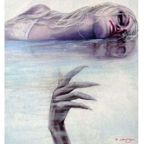 Beautiful dark surrealism. Painting by Martin Darkside. #MartinDarkside #prettypieceofflesh #darkart #tattoedartist #UKpainter #pinupgirls #horror #oilpainting #bradford
