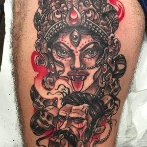 Deusa Kali por Carlos Fabra! #CarlosFabra #Kali #Cali #Kalitattoo #Calitattoo #hindu #hinduism #hindutattoo #caveira #skull #lingua #tongue