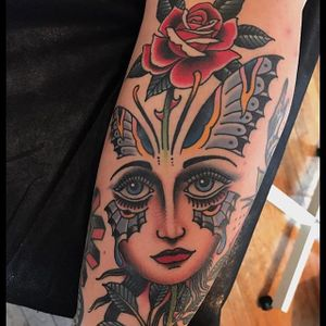 Beauty by Grez #Grez #traditional #color #lady #rose #butterfly #tattoooftheday