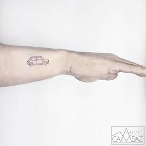 Lil car tattoo by Ahmet Cambez #AhmetCambez #cartattoos #linework #illustrative #minimal #small #tiny #car #vintage #tattoooftheday